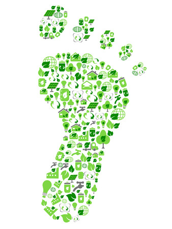 Ilustración de isolated green eco friendly footprint filled with ecology icons from white background - Imagen libre de derechos