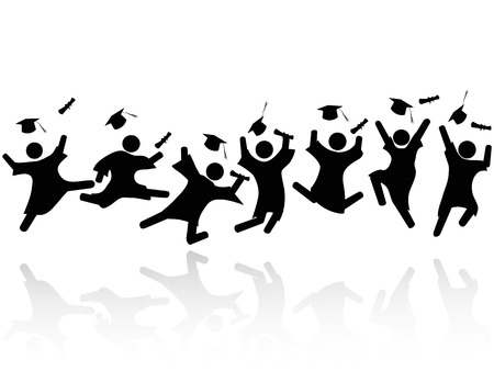 Illustration pour isolated cheerful graduated students jumping with shadows on white background - image libre de droit