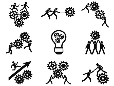 Illustration pour isolated men teamwork gears pictogram icons set from white background - image libre de droit