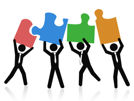 Ilustración de isolated a Team of business people holding up jigsaw puzzle pieces on white background - Imagen libre de derechos