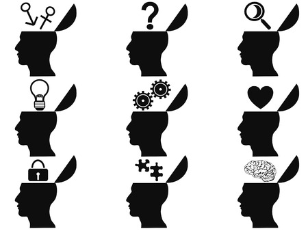 Ilustración de isolated black open human head icons set from white background - Imagen libre de derechos