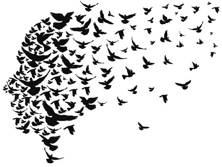 Illustration pour isolated doves flying away with human head from white background - image libre de droit