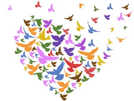 Ilustración de isolated color birds flying with heart from white background - Imagen libre de derechos
