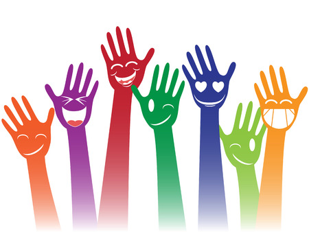 Illustrazione per isolated colorful happy smile hands on white background - Immagini Royalty Free