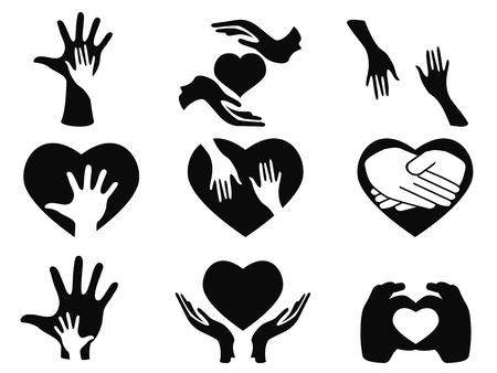 Ilustración de isolated caring hands icons set on white background - Imagen libre de derechos