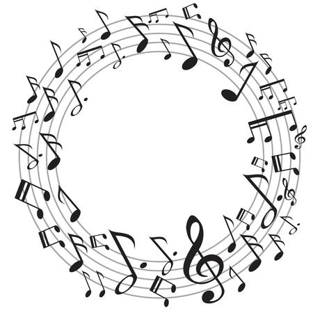 Illustration pour the design of circle music notes on white background - image libre de droit