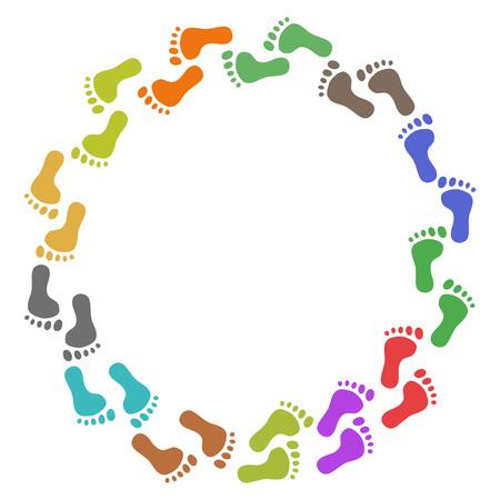 Ilustración de isolated color feet around with copy space on white background - Imagen libre de derechos