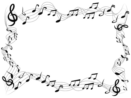 Illustrazione per isolated music notes square frame with copy space  from white background - Immagini Royalty Free