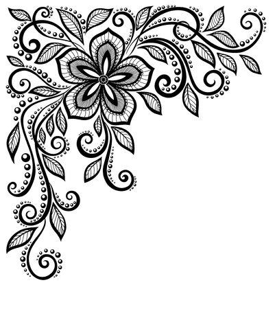 Illustration pour beautiful black-and-white lace flower in the corner  With space for your text and greetings  Many similarities in the profile of the artist - image libre de droit