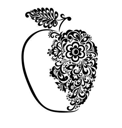 Illustration for beautiful black and white apple decorated with floral pattern. Many similarities to the author's profile - Royalty Free Image