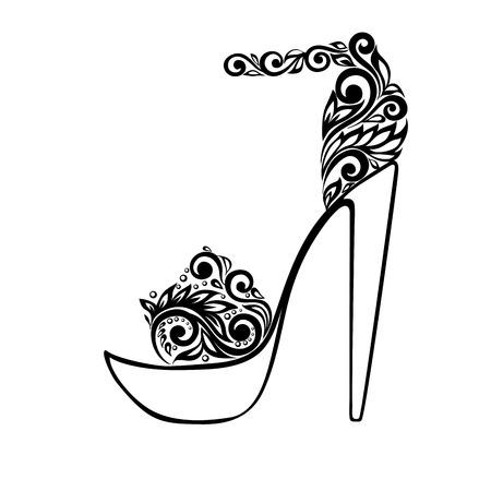Illustration pour Beautiful sandals, decorated with black and white floral ornament. - image libre de droit