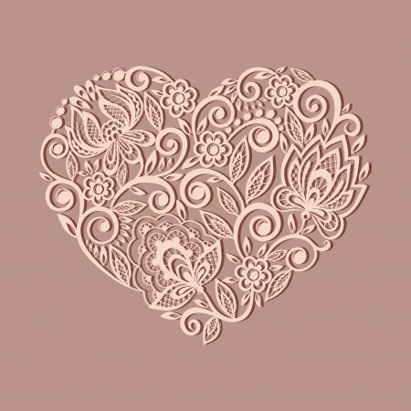 Illustration for silhouette of the heart symbol decorated with floral pattern, a design element in the old style.  Many similarities to the author's profile - Royalty Free Image