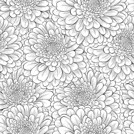Illustration pour Beautiful seamless background with monochrome black and white flowers. Hand-drawn contour lines and strokes. - image libre de droit
