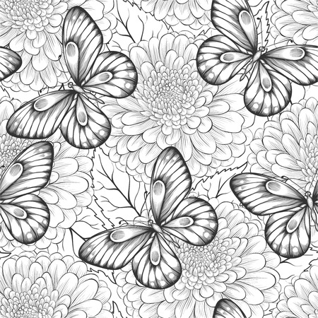 Illustration pour beautiful black and white seamless pattern with flowers and butterflies. Hand-drawn contour lines and strokes. Perfect for background greeting cards and invitations to the day of the wedding, birthday and Valentine's Day - image libre de droit