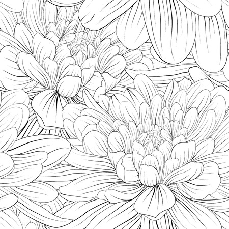 Illustration pour Beautiful monochrome, black and white seamless background with flowers dahlia. Hand-drawn contour lines and strokes. - image libre de droit