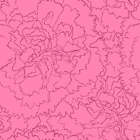 Illustration pour Beautiful seamless background with pink carnation. Hand-drawn contour lines and strokes. - image libre de droit