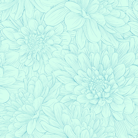 Photo pour Beautiful seamless pattern with blue dahlia flowers  Hand-drawn contour and strokes  - image libre de droit