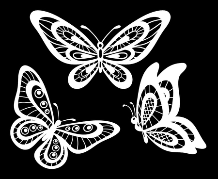 Illustration pour set of beautiful black and white guipure lace butterflies isolated.  Floral design for greeting card and invitation of wedding, birthday, Valentine's Day, mother's day and seasonal holiday - image libre de droit