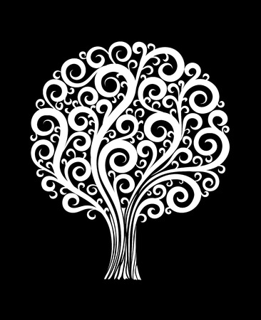Ilustración de beautiful monochrome black and white tree in a flower design with swirls and flourishes isolated. Floral design for greeting card and invitation of wedding, birthday, Valentine's Day, mother's day and seasonal holiday - Imagen libre de derechos