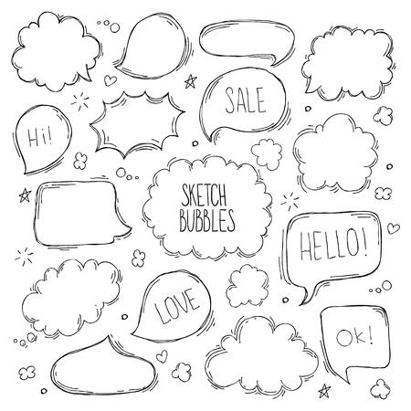 Ilustración de Set of hand drawn sketch Speach bubbles. Vector illustration - Imagen libre de derechos