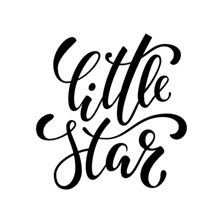 Illustration pour little star. Hand drawn creative calligraphy and brush pen lettering isolated on white background. design holiday greeting cards, invitations, print, t-shirts, home decor. - image libre de droit