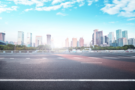 Photo for Landscape view of a city and asphalt road - Royalty Free Image