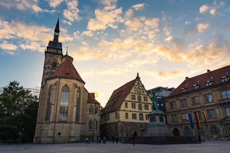 Photo pour Stuttgart Schillerplatz Sunset City Center Historical Architecture Sightseeing Germany - image libre de droit