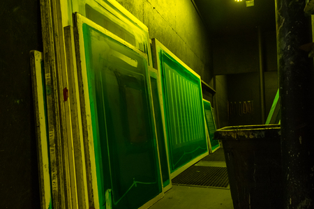 Photo for Screen Printing Large Format Screens Signage Industry Production - Royalty Free Image