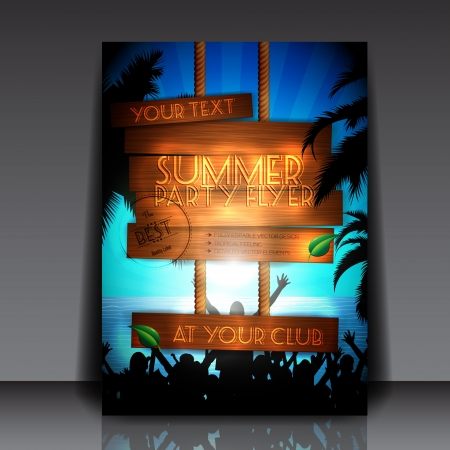 Party people on the beach in summer - Fully Editable Party Flyer