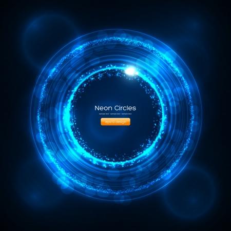 Foto de  Neon Circles Abstract Background - Imagen libre de derechos