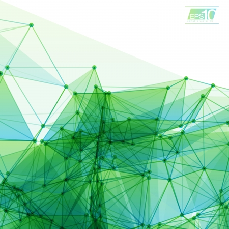 Ilustración de 3D Green and Blue Abstract Mesh Background with Circles, Lines and Shapes Design Layout for Your Business - Imagen libre de derechos