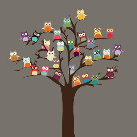Ilustración de Cute Owl on Tree   Vector Background - Imagen libre de derechos