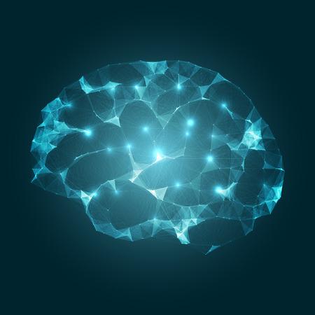 Illustration pour Brain Impulses   Mesh Vector Design   EPS10 Futuristic Technology Concept - image libre de droit