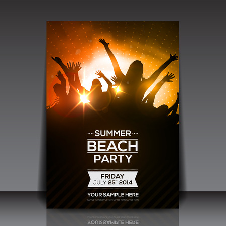 Ilustración de Summer Beach Party Flyer - Vector Design - Imagen libre de derechos