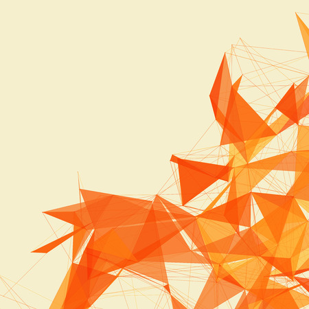 Illustration pour 3D Orange Abstract Mesh Background with Circles, Lines and Shapes | EPS10 Design Layout for Your Business - image libre de droit