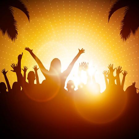 Illustration pour Party People  Beach Party Vector Background - image libre de droit