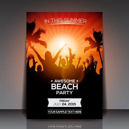 Illustration for Summer Beach Party Flyer  Vector Design - Royalty Free Image
