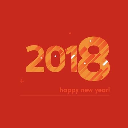 Ilustración de Happy New Year 2018 Vector Illustration - Creative Design with Bold Text on Red Background - Orange and White Lines, Circles, Plus Sign - Imagen libre de derechos