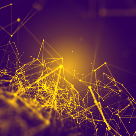 Foto de Abstract Polygonal Space Purple Background with Yellow Low Poly Connecting Dots and Lines - Connection Structure - Futuristic HUD Background - Imagen libre de derechos