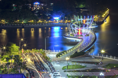 Foto de Can Tho, Vietnam - January 19, 2017: Ninh Kieu wharf at night change over time shows economic development in Mekong Delta, this place also attracts tourists to visit on weekends in Can Tho, Vietnam - Imagen libre de derechos