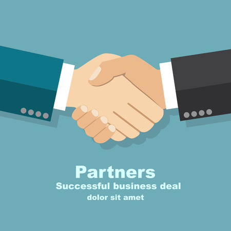 Illustration pour handshake businessman agreement. Vector illustration flat style. shaking hands. symbol of a successful transaction - image libre de droit
