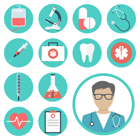 Illustration pour medical icons. medical equipments, tools. colorful template web and mobile applications. flat design. health and treatment. modern concept, vector illustration - image libre de droit