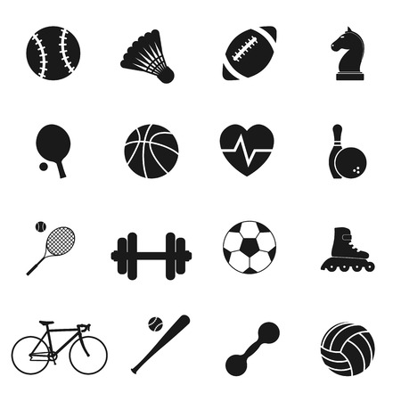 Ilustración de Set black icons sports. Vector illustration - Imagen libre de derechos