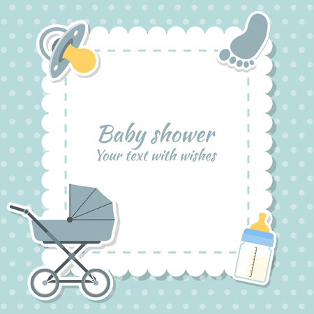 Illustration pour Baby shower boy invitation card. Place for text.  Greeting cards. - image libre de droit