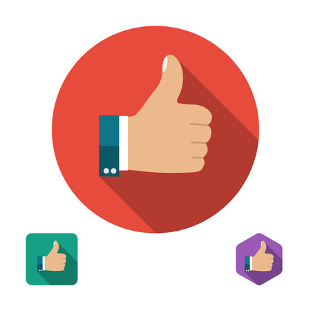 Illustration pour Like icon. Thumb up symbol. Set icons in flat style with long shadows. Three types of icons: circle, square, hexagon. Vector illustration - image libre de droit