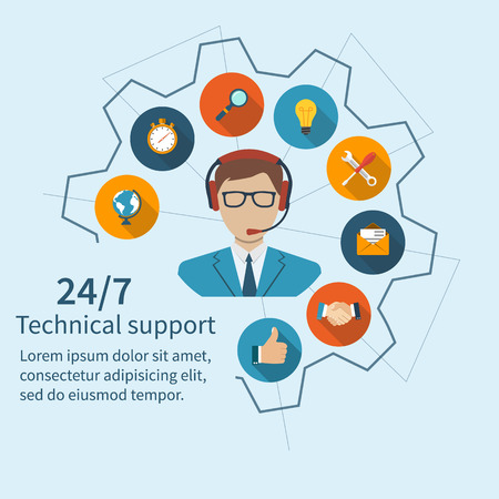Ilustración de Customer support, technical support. Operator call center and a set of services. Abstract vector illustration of a flat design. - Imagen libre de derechos