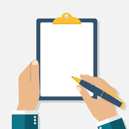 Ilustración de Man holds a clipboard and writes. Empty blank. Pen in hand. A blank sheet of paper to write. Vector illustration, flat design. - Imagen libre de derechos