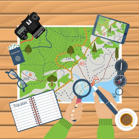 Photo pour Man at table with map and tourist equipment plan to travel. Trip plan vector, travel guide. Hiking map, trail. Time for travel and adventure. Camera, map, compass, gps. Banner template. Flat design - image libre de droit