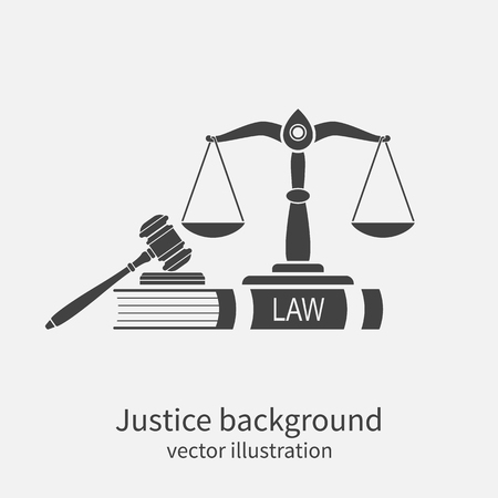 Illustration pour Symbol of law and justice. Concept law and justice. Scales of justice, gavel and book. Vector illustration. Can be used as logo legality. - image libre de droit