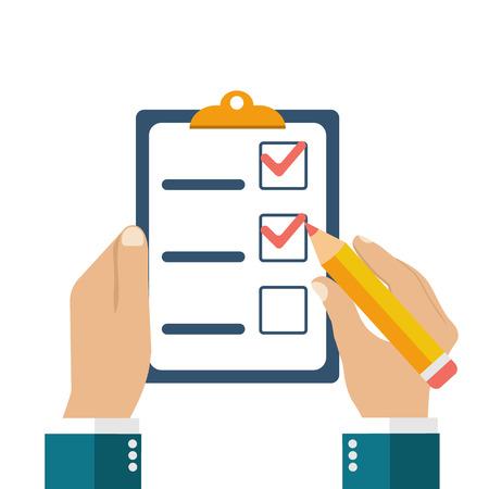 Photo pour Businessman holding checklist and pencil. Questionnaire, survey, clipboard, task list. Icon flat style vector illustration. Filling out forms, planning - image libre de droit